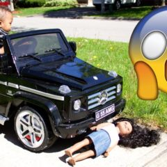 BABY BROTHER DRIVES CAR OVER SISTER'S MY LIFE DOLL 4