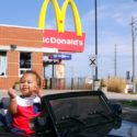 BAD BABY DRIVES POWER WHEELS RIDE ON CAR TO MCDONALD'S DRIVE THRU 1