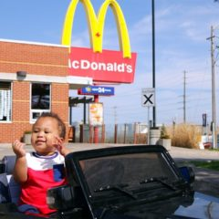 BAD BABY DRIVES POWER WHEELS RIDE ON CAR TO MCDONALD'S DRIVE THRU 2