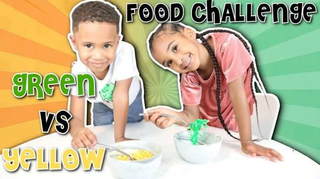 GREEN vs YELLOW FOOD CHALLENGE 1